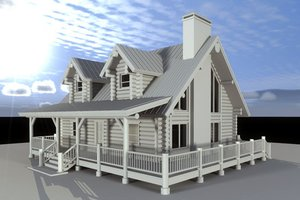 Log Exterior - Front Elevation Plan #451-12