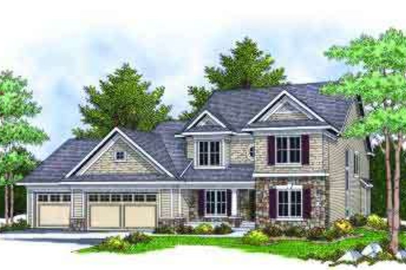 Traditional Style House Plan - 4 Beds 2.5 Baths 2244 Sq/Ft Plan #70-673 Exterior - Front Elevation