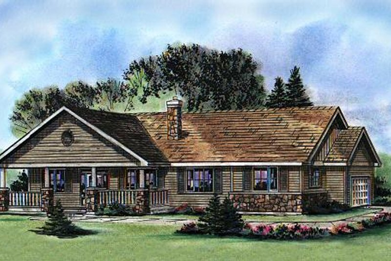 Ranch Style House Plan - 3 Beds 2 Baths 1493 Sq/Ft Plan #427-4 Exterior - Front Elevation