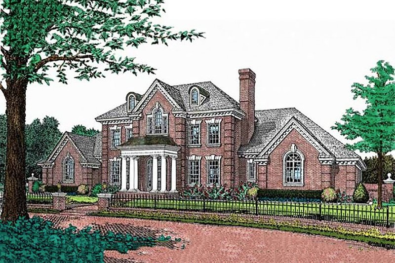 Classical Style House Plan - 4 Beds 3.5 Baths 3793 Sq/Ft Plan #310-177 Exterior - Front Elevation