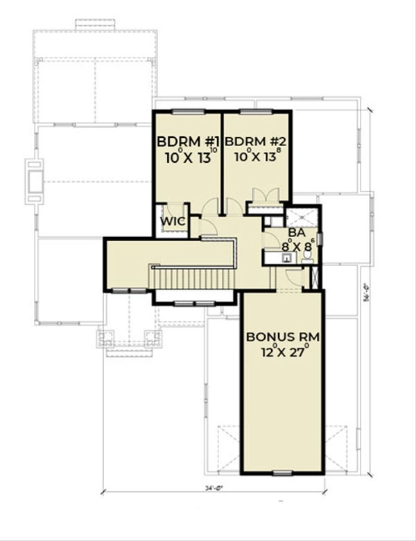 Craftsman Floor Plan - Upper Floor Plan Plan #1070-11