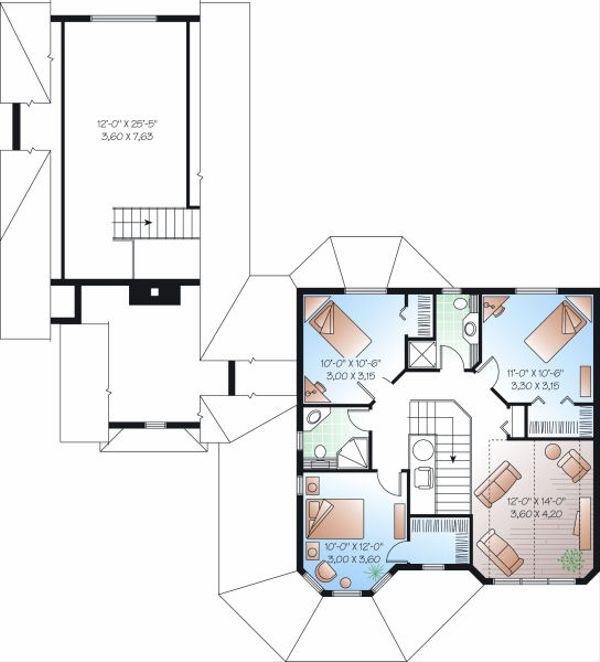 Victorian Floor Plan - Upper Floor Plan Plan #23-750
