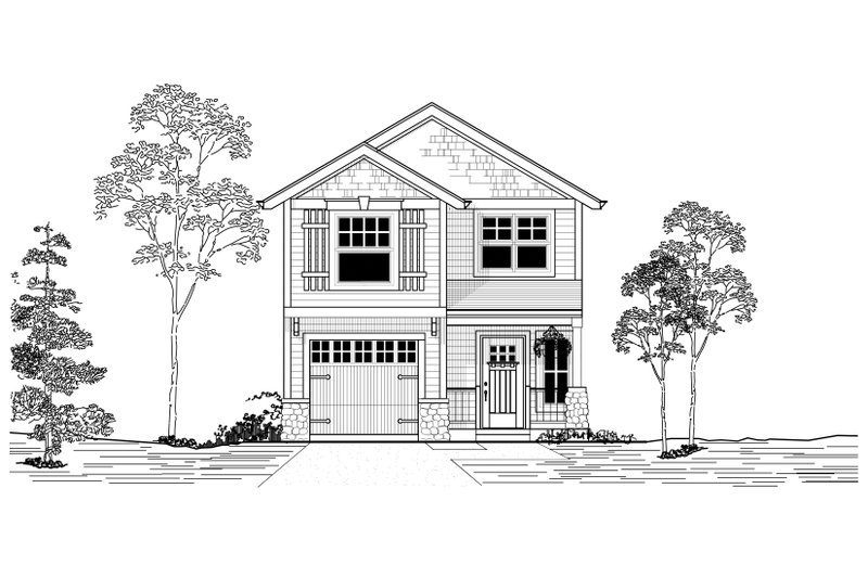 Craftsman Style House Plan - 3 Beds 2 Baths 1672 Sq/Ft Plan #53-520 Exterior - Front Elevation