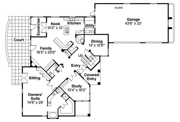 Mediterranean Floor Plan - Main Floor Plan Plan #124-937