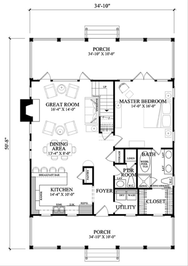 Country Floor Plan - Main Floor Plan Plan #137-264