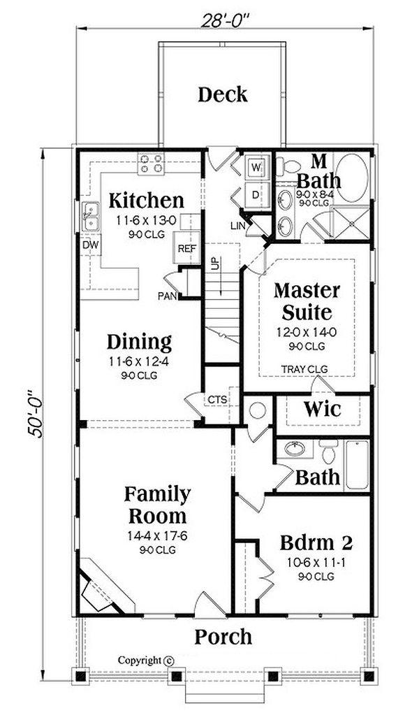 Bungalow Floor Plan - Main Floor Plan Plan #419-301