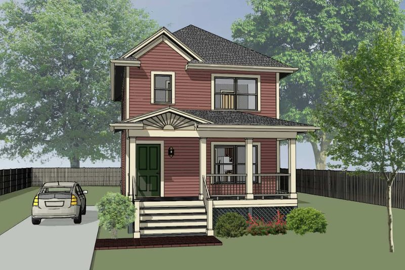 Cottage Style House Plan - 3 Beds 1.5 Baths 1087 Sq/Ft Plan #79-121 Exterior - Front Elevation