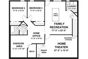 Country Style House Plan - 2 Beds 2.5 Baths 1500 Sq/Ft Plan #56-621 Floor Plan - Lower Floor