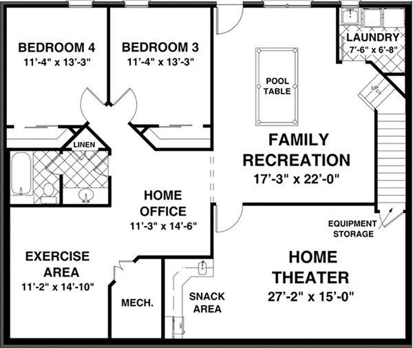 Country Floor Plan - Lower Floor Plan #56-621