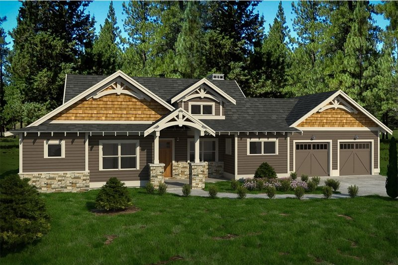 Architectural House Design - Craftsman Exterior - Front Elevation Plan #895-86