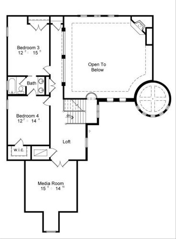 European Floor Plan - Upper Floor Plan Plan #417-399