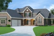 European Style House Plan - 4 Beds 5.5 Baths 3892 Sq/Ft Plan #419-304 Exterior - Front Elevation