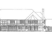 Tudor Style House Plan - 5 Beds 7 Baths 7275 Sq/Ft Plan #72-198 Exterior - Rear Elevation