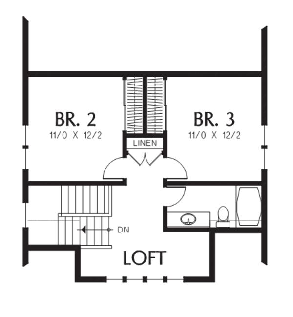 Cottage Floor Plan - Upper Floor Plan #48-704