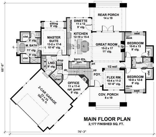 Craftsman Floor Plan - Main Floor Plan Plan #51-571