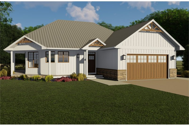 Craftsman Style House Plan - 3 Beds 2 Baths 1678 Sq/Ft Plan #126-182 Exterior - Front Elevation