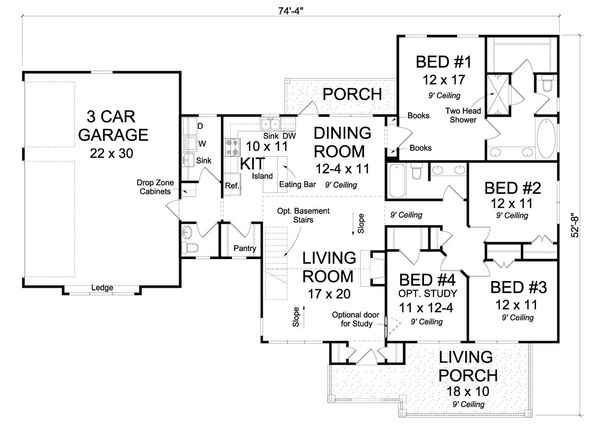 Traditional Floor Plan - Main Floor Plan #513-2067