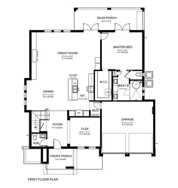 Contemporary Style House Plan - 4 Beds 3.5 Baths 3210 Sq/Ft Plan #1058-180 Floor Plan - Main Floor Plan