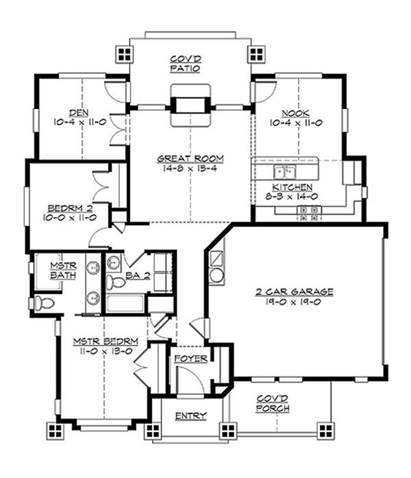 Craftsman Floor Plan - Main Floor Plan Plan #132-194