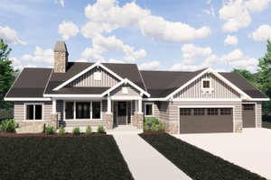 Craftsman Exterior - Front Elevation Plan #920-32