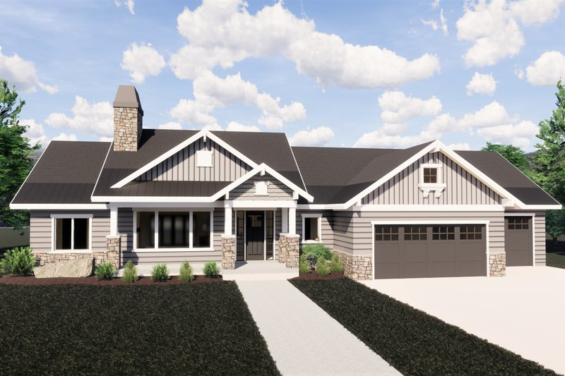 Craftsman Style House Plan - 6 Beds 3 Baths 3308 Sq/Ft Plan #920-32 Exterior - Front Elevation