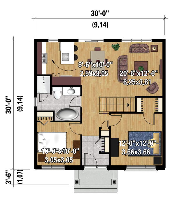 Contemporary Floor Plan - Main Floor Plan Plan #25-4271
