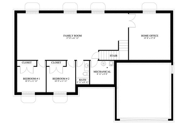 Traditional Floor Plan - Lower Floor Plan Plan #1060-58