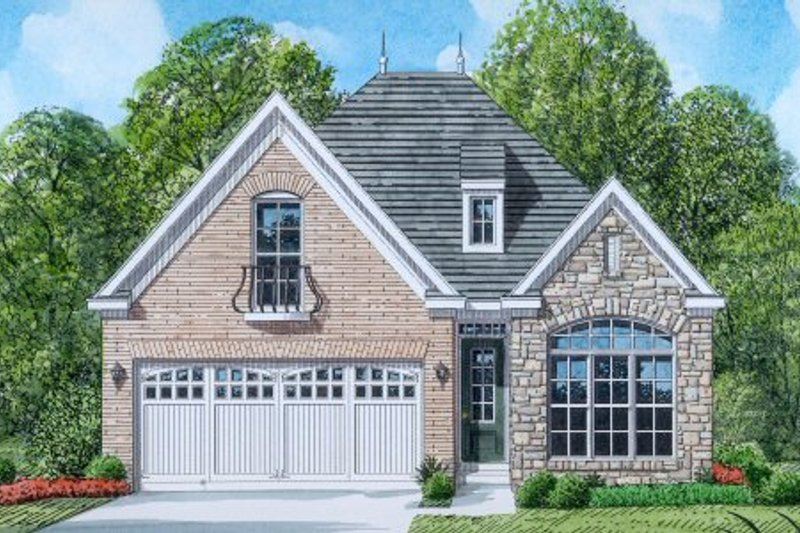 European Style House Plan - 3 Beds 2.5 Baths 1986 Sq/Ft Plan #424-303 Exterior - Front Elevation