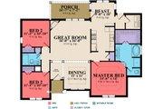 European Style House Plan - 3 Beds 2 Baths 1650 Sq/Ft Plan #63-297 Floor Plan - Main Floor
