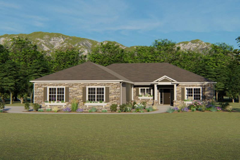 Dream House Plan - Ranch Exterior - Front Elevation Plan #1064-28