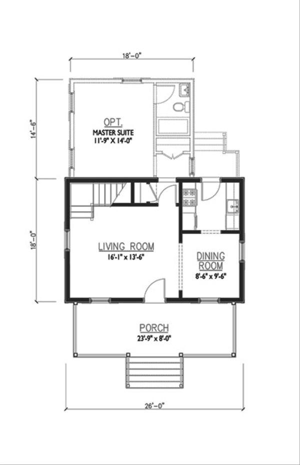 Cottage Style House Plan - 2 Beds 1 Baths 936 Sq/Ft Plan #514-13 Floor Plan - Main Floor Plan