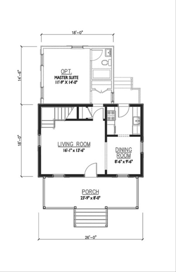 Cottage Floor Plan - Main Floor Plan #514-13
