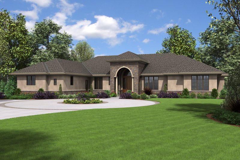 European Style House Plan - 3 Beds 2.5 Baths 3041 Sq/Ft Plan #48-672 Exterior - Front Elevation