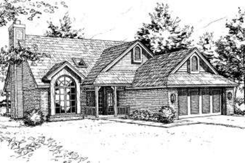Traditional Style House Plan - 3 Beds 2.5 Baths 2125 Sq/Ft Plan #310-102 Exterior - Front Elevation