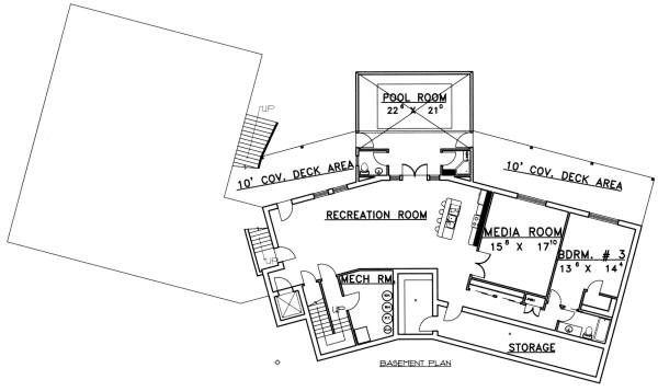 Ranch Floor Plan - Lower Floor Plan #117-563