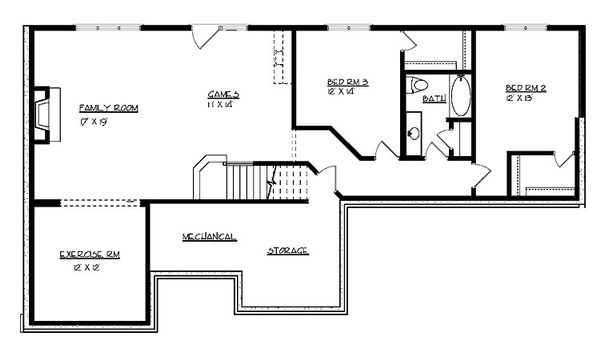 Cottage Floor Plan - Lower Floor Plan Plan #320-492