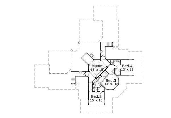 Traditional Floor Plan - Upper Floor Plan Plan #411-398