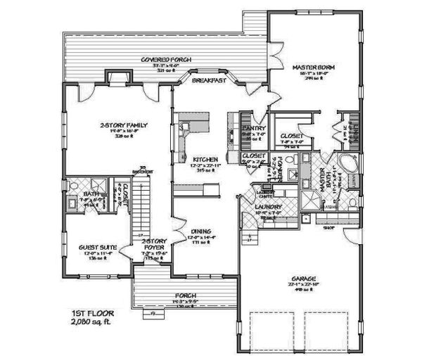 Main Level floor plan - 3500 square foot Traditional home