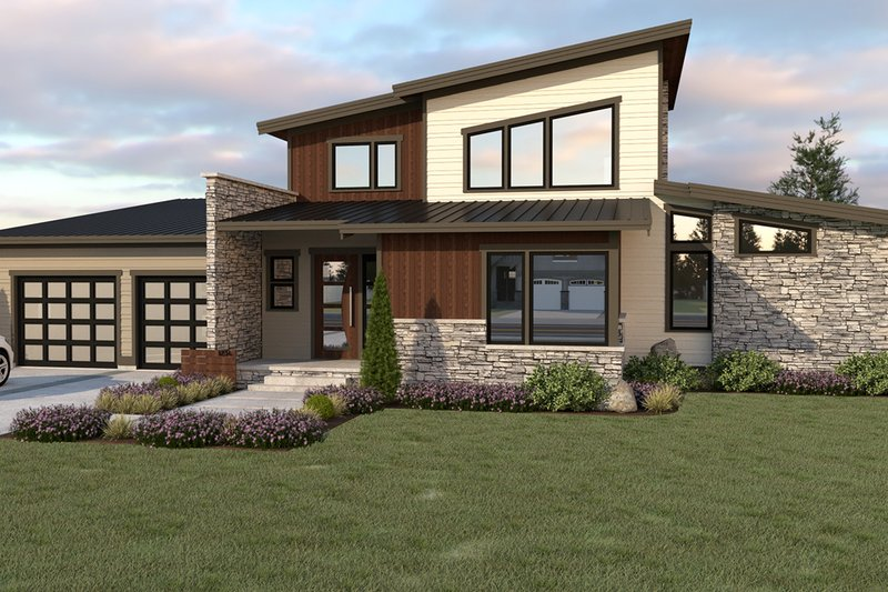 Contemporary Style House Plan - 3 Beds 2.5 Baths 2500 Sq/Ft Plan #1070-44 Exterior - Front Elevation