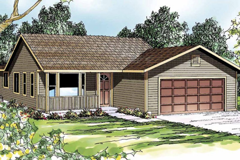 Ranch Exterior - Front Elevation Plan #124-303
