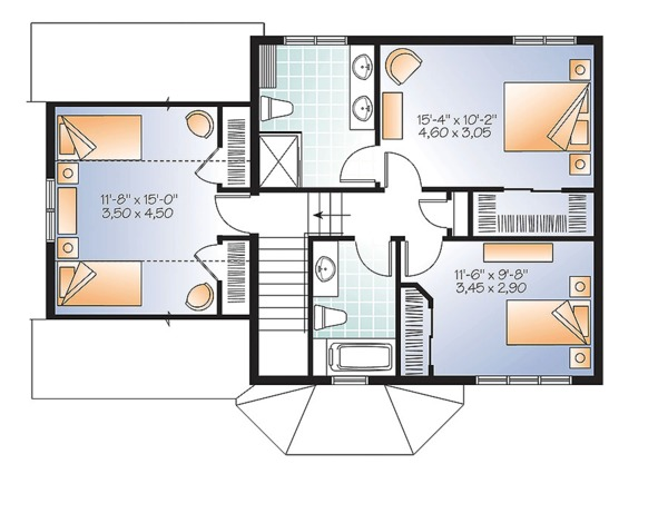 Traditional Floor Plan - Upper Floor Plan Plan #23-2624