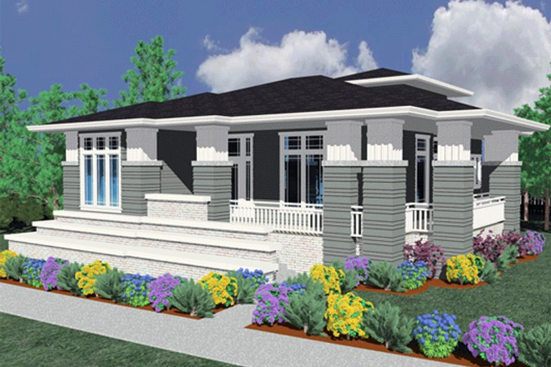 Prairie Style House Plan - 3 Beds 2 Baths 2264 Sq/Ft Plan #509-43 Exterior - Front Elevation
