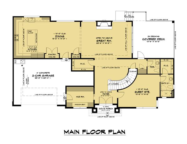 Contemporary Floor Plan - Main Floor Plan #1066-128