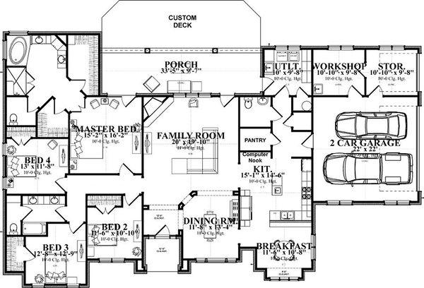 Traditional Floor Plan - Main Floor Plan Plan #63-393