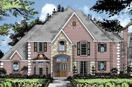 European Exterior - Front Elevation Plan #62-125