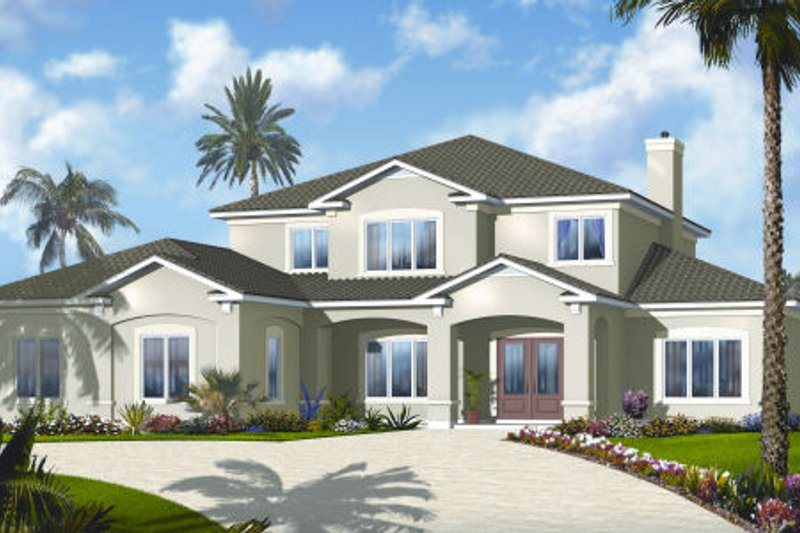 Mediterranean Style House Plan - 6 Beds 4.5 Baths 3448 Sq/Ft Plan #23-2249 Exterior - Front Elevation