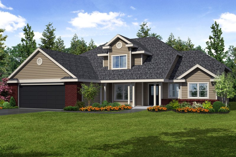 Traditional Exterior - Front Elevation Plan #124-384 - Houseplans.com