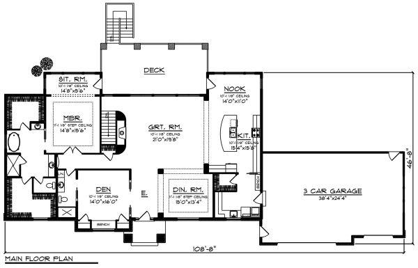 Architectural House Design - Ranch Floor Plan - Main Floor Plan #70-1501