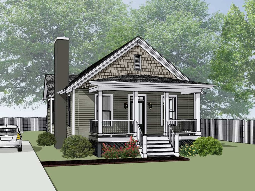 Bungalow Style House Plan 2 Beds 2 Baths 1268 Sq Ft Plan 79 174 Eplans Com