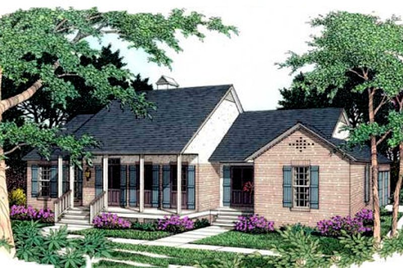 Southern Exterior - Front Elevation Plan #406-173